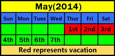 Holiday Notice:International Labor Day