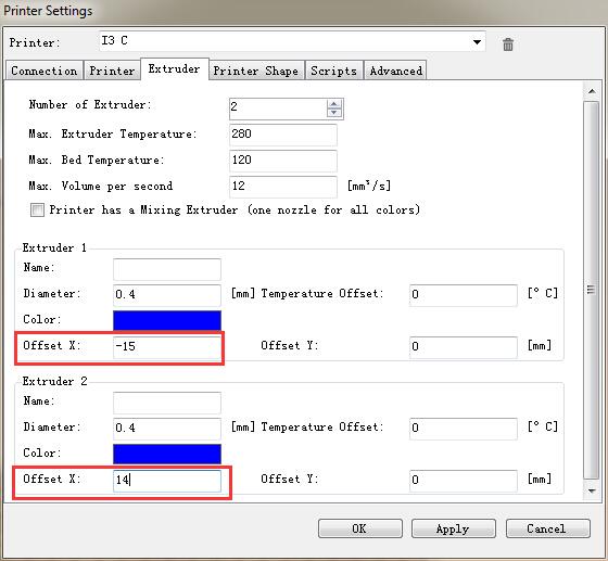 Dual extruder Print I3 PRO C Printing Setup - Geeetech