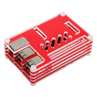 Pibow Coupe Enclosure for Raspberry Pi Model B+(red&transparant)