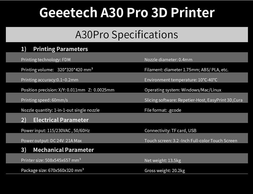 Geeetech A30 Pro 3D Printer